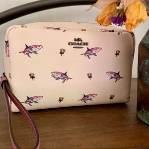 COACH Shark Rose Pink Leather Cosmetic Case Bag